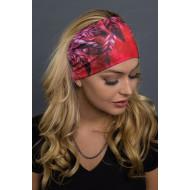 Dámská motorkářská čelenka - šátek červená pera
