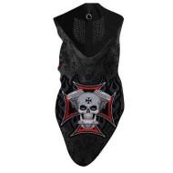 Motorkářský šedý neoprenový nákrčník - ochrana obličeje maltézský kříž lebka