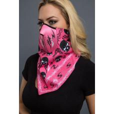 Dámská růžová neoprenová motorkářská maska - skull