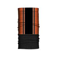 Motorkářský zimní fleecový nákrčník černé pruhy - návlek tubus ochrana obličeje