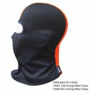 Motorkářská kukla pod helmu - oranžový pruh