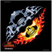 Motorkářský šátek - lebka s plameny na obličej facemask 54x54cm