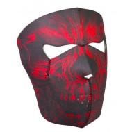 Neoprenová maska na obličej červená lebka - facemask