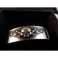 Harley Davidson pánský kožený náramek lebka s plameny Willie G Skull