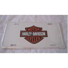 Harley Davidson - White License Plate Tin Sign bar and Shield
