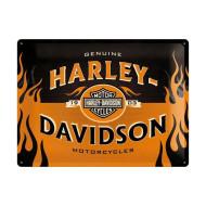 Plechová cedule Harley-Davidson plameny 40x30cm
