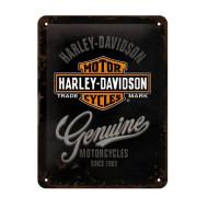 Plechová cedule Harley-Davidson Genuine Motorcycles Logo 15x20cm