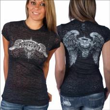Biker Ladies Asphalt Angel Burnout T-shirt L, XL
