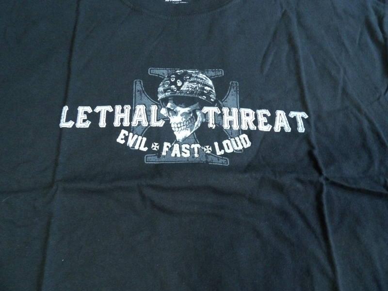 Pánské černé motorkářské tričko Lethal Threat Skull lebka XL ... 2457498229