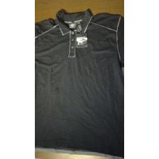 Harley Davidson Mens Winged Skull Washed Slub Black Short Sleeve Polo , XL