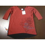 Harley-Davidson dámské černo-červené tričko s krajkou, 3/4 rukávy 96319-15VW, M