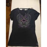 Harley-Davidson Women's Winged Cross Fashion Short Sleeve Tee, Black 96823-19VW