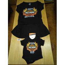 Set dětské motorkářské černé body pro miminko a dlouhé tričko pro maminku H-D, vel. M + 3 měsíce