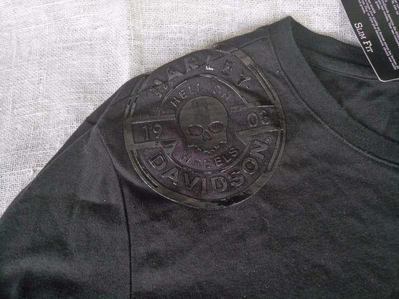 Harley Davidson Men/'s Chambray Zip Pocket Black L//S Tee 96586-17VM