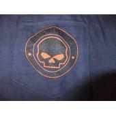 Harley Davidson modré triko Skull  s dlouhým rukávem, V12M-510 XL