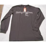 Harley Davidson šedé triko s lebkou - dl.rukáv, 5657-V362, vel. S