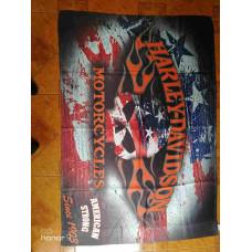 "Flag size 52"" x 36"", Harley Davidson Flaming Skull Americana"